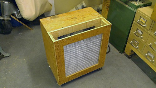 Air filtration unit top removed