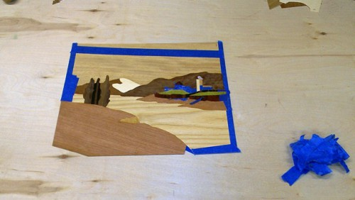 Marquetry in progress