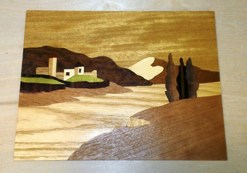 Swiss lake marquetry scene