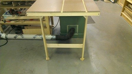 Leg levelers on table saw out-feed table