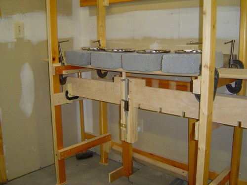 Measuring shelf sag with weights in place