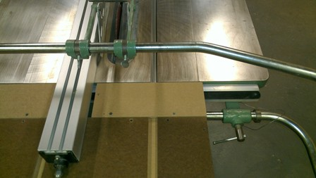 Panels slide freely so they do not hinder the positioning of the rip fence.