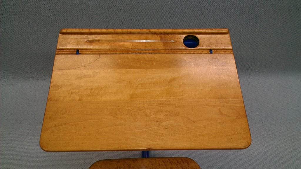 Genial Top View Of Restored Desk Surface