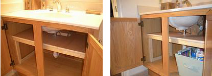 Bathroom vanity shelf almost doubles storage capacity