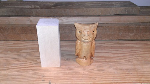 From basswood blank to carved owl