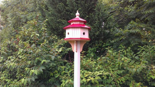 Cedar bird house painted and ready for occupants