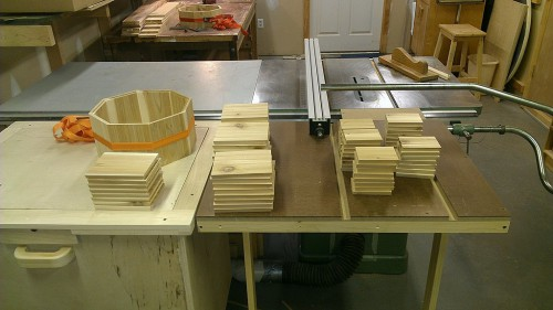 Bird house walls awaiting assembly