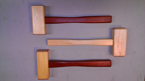 Trio of mallets made from maple and padauk