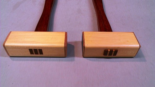 Mallets handles secured with wedges of contrasting color