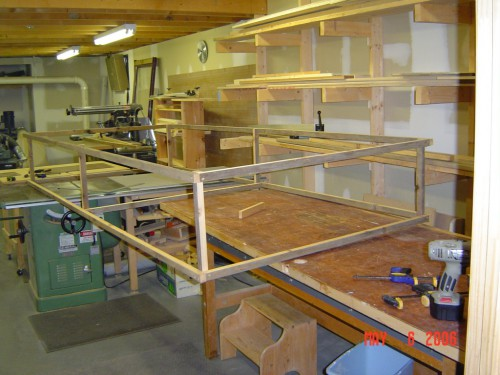 Assembling the strawberry cage in the woodshop