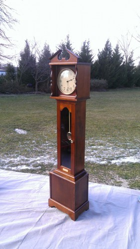 Completed clock with outdoor lighting