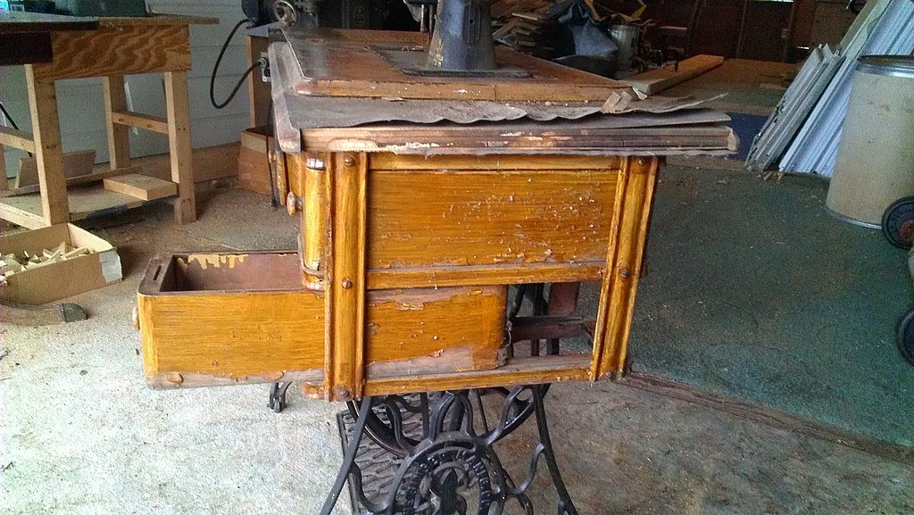 Blistering Of Old Finish On Sewing Machine Cabinet