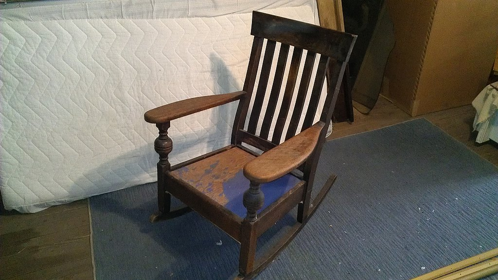 mission style rocking chair woodbin. Black Bedroom Furniture Sets. Home Design Ideas