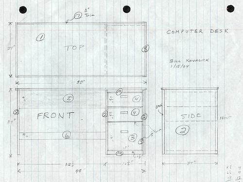 Dimensioned drawing of student desk