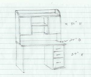 Rough sketch of student desk with shelf unit