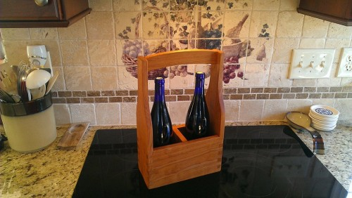 Two-bottle wine tote made from wormy cherry