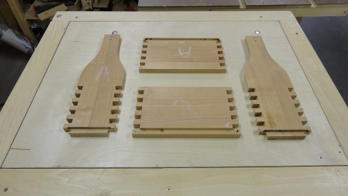 Wine tote components ready for assembly