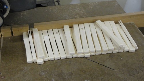 All mini mallet handles milled to size and tenon kerfs cut