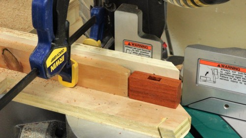 Making angled cuts to bevel the edges of the mallet head