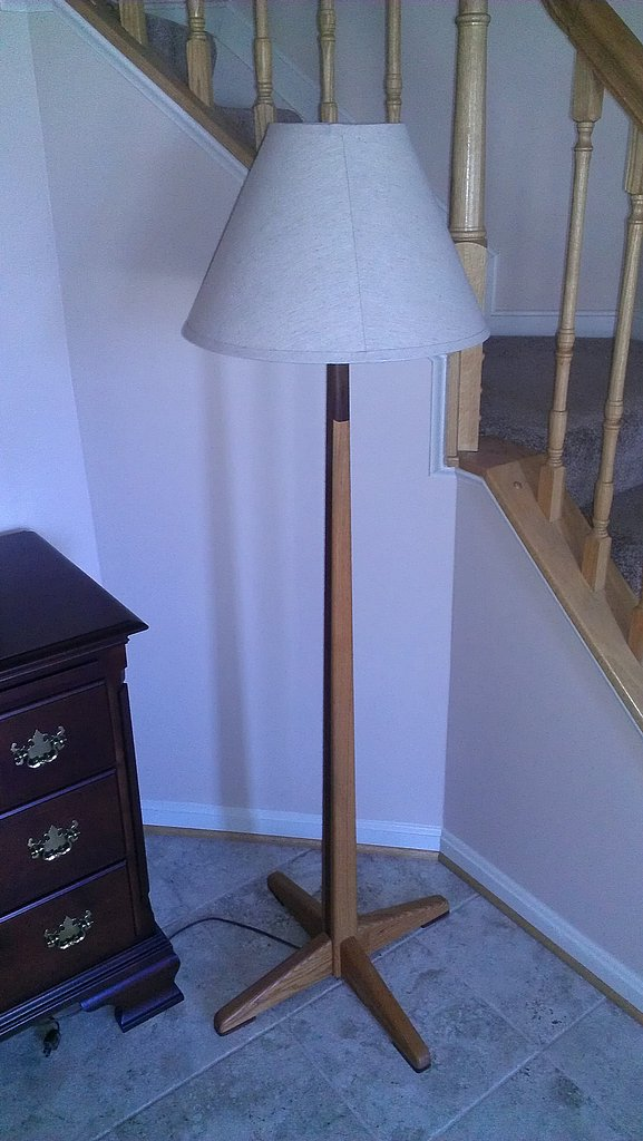 Oak-walnut floor lamp