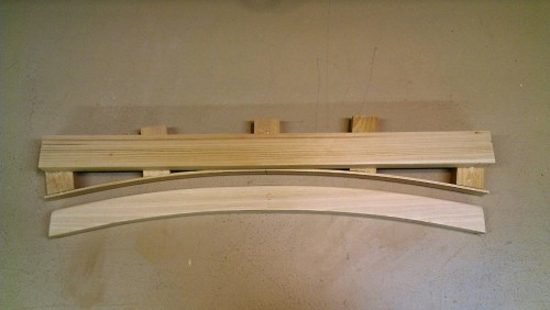 Traced curves cut with bandsaw and sanded smooth