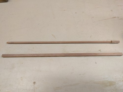 Before and after: redwood blank and finished DIY dowel
