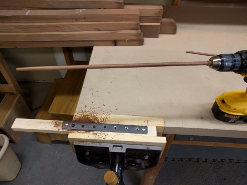Dowel after first pass through jig