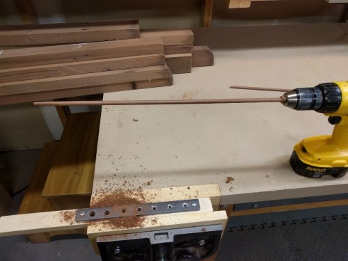 Completed dowel after second pass through jig