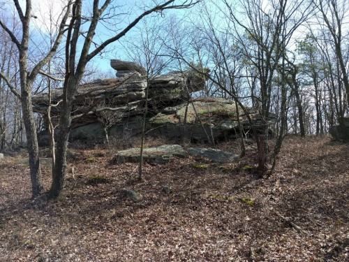 This two-story rock once towered over the surrounding trees