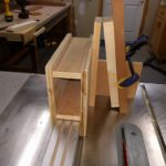 Setting up the jig to cut the tenon cheeks