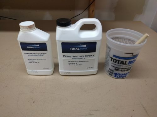 Epoxy is activated by mixing 2 parts resin to 1 part hardener
