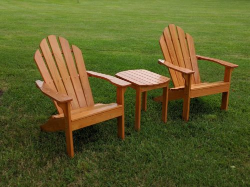 Adirondack chairs and side table