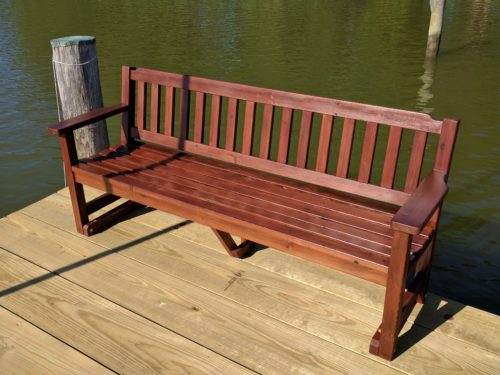 Garden bench from reclaimed redwood lumber