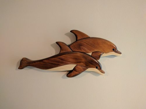 Diving dolphins - my first intarsia project