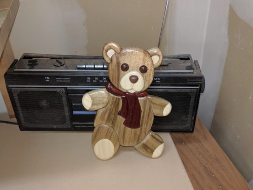 Intarsia teddy rocking out