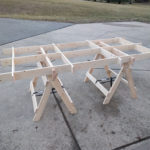 Portable plywood cutting table supports a full sheet of plywood