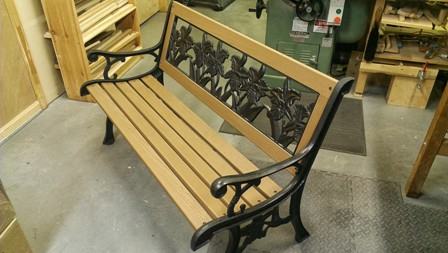 Red Garden Bench About To Leave The