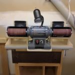 Flex-drum sanding station made from a repurposed variable speed grinder